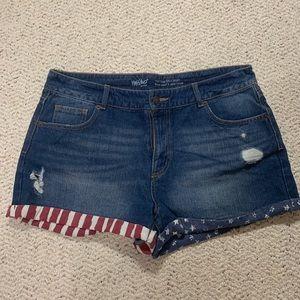 High Rise Denim Shorts with American Flag Detail